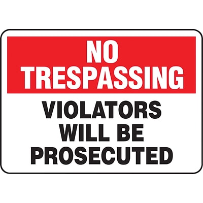 Accuform Signs® Safety Sign, No Trespassing, 10 X 14, Adhesive Vinyl, Ea