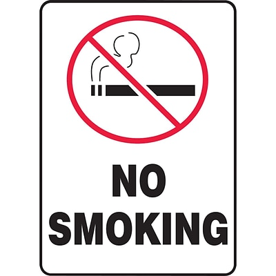 Accuform Signs® Safety Sign, No Smoking, 10 X 7, Adhesive Vinyl, Ea