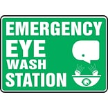 Accuform Signs® Safety Sign, Emergency Eye Wash Station, 10 X 14, Adhesive Vinyl, Ea