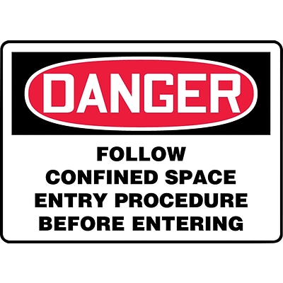 Accuform Signs® Safety Sign, Danger, 10 X 14, Plastic, Ea