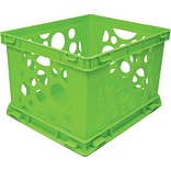 Storex Large Storage and Transport File Crate, Neon Green (61581U01C)