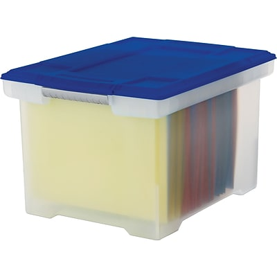 Storex Plastic File Tote Storage Box with Snap-On Lid; Letter/Legal Size, Clear