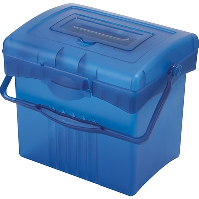 Storex Economy Portable Plastic File Box; Blue