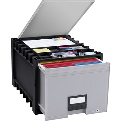 Storex Plastic Archive Storage Box with Lid and Lock, Letter Size, 18 Drawer, Black (61181U01C)