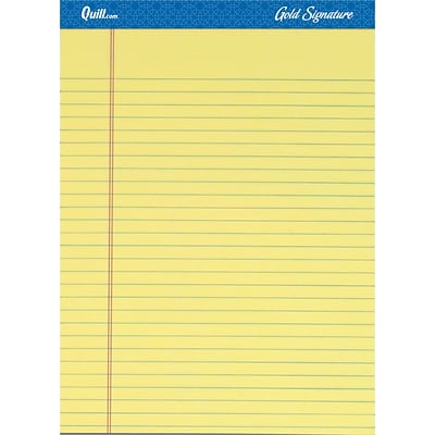 Quill Brand® Gold Signature Premium Series Legal Pad, 8-1/2 x 11, Wide Ruled, Yellow, 50 Sheets/Pad, 12 Pads/Pack (742270)
