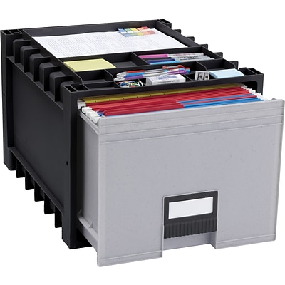 Storex Plastic Archive Storage Box, Letter, 18 Depth, Black/Gray (61179U01C)