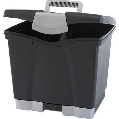Storex Portable Plastic File Box with Bottom Drawer; Black