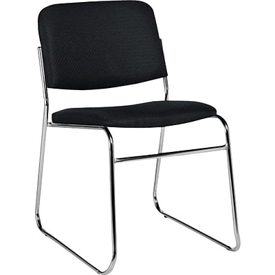 Offices To Go® Armless Stack Chair, Fabric, Black, Seat: 16.5Wx16.5D, Back: 18Wx13.5H, 2/CT