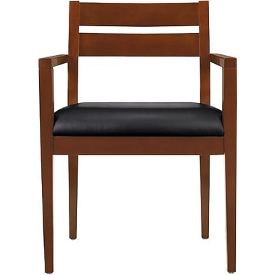 Offices To Go® Wood Guest Chair, Luxhide, Black/Toffee Finish, Seat: 22Wx18 1/2D, Back: 19Wx14H