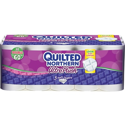 Georgia-Pacific Quilted Northern® Ultra Plush Bathroom Tissue, 3-Ply, Perforated, White, 4 x 4, 30 Double Rolls/Ct (87135511)