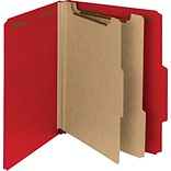 Pressboard Classification Folder, 2 Exp, 2 Dividers, Letter, , Bright Red, 10/Bx