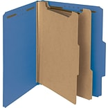 Pressboard Classification Folder, 2 Exp, 2 Dividers, Letter, , Dark Blue, 10/Bx
