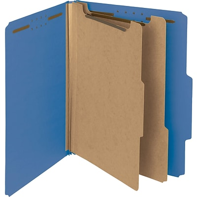 Smead® 100% Recycled Pressboard 2/5-Cut Tab Classification Folders, 2-Fasteners, 2-Partitions, Letter, Dark Blue, 10/Bx (14062)
