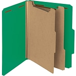 Pressboard Classification Folder, 2 Exp, 2 Dividers, Letter, , Green, 10/Bx
