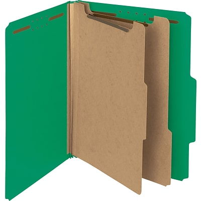 Smead 100% Recycled Pressboard Classification File Folder, 3 Dividers, 3 Expansion, Letter Size, Gray/Green, 10/Box (19091)