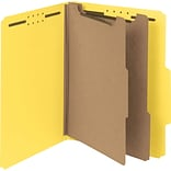 Pressboard Classification Folder, 2 Exp, 2 Dividers, Letter, , Yellow, 10/Bx