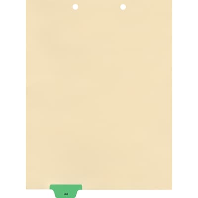 Medical Arts Press® Position 2 Colored End-Tab Chart Dividers, Lab, Lt. Green
