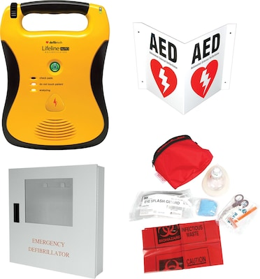 Lifeline AUTO AED Package, Defibrillator Starter Kit w/Rx, Alarmed Cabinet, Rescue Pack & Wall Sign