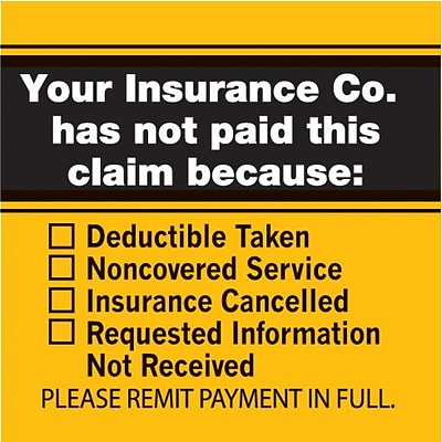 Insurance Carrier Collection Labels, Insurance Not Paid Checklist, 1-1/2x1-1/2, 500 Labels