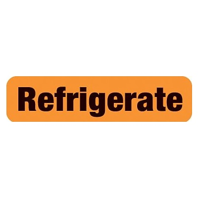 Chart Alert Medical Labels, Refrigerate, Orange, 5/16x1-1/4, 500 Labels