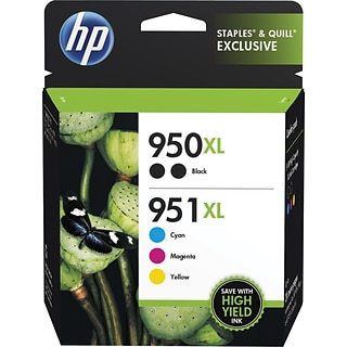 HP 950XL/951XL Black/Cyan/Magenta/Yellow High Yield Ink Cartridge, 5/Pack (F6V12FN#140)