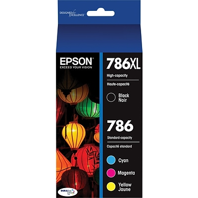 Epson® DURABrite Ultra 786XL/786 Ink Cartridges, High-Yield Black and Standard Color C/M/Y, 4/Pack (T786XL-BCS)