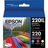 Epson DURABrite Ultra 220XL (T220XLBCS), Black Ink Cartridge, Ultra High Yield, Multi-pack (4 cart p
