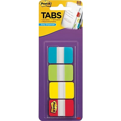 3M Post-It Tabs, 1x1 1/2, Aqua/Lime/Yellow/Red