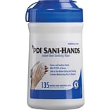 Sani-Hands® Antimicrobial Alcohol Gel Hand Wipes, 6x7.5 - 135 Wipes/Tub, 12 Tubs/Case