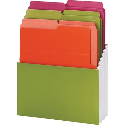 Smead® Organized Up Vertical Stadium File with Heavyweight Vertical Folders, 3 Pockets, Letter, Peridot/Brights, Each (70222)