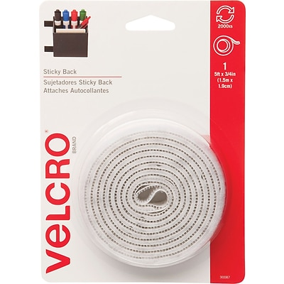 Velcro® Fasteners, 3/4x5 Roll, White