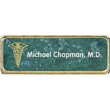 Custom Printed Marble Framed Name Badges; Gold