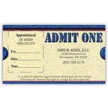 Medical Arts Press® Dual-Imprint Peel-Off Sticker Appointment Cards; Admit One