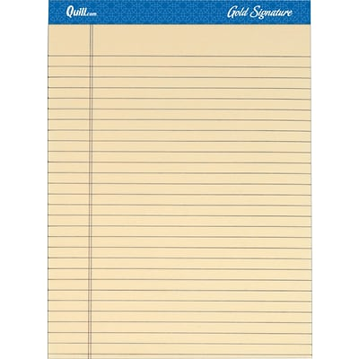 Quill Brand® Gold Signature Premium Series Ruled Legal Pad 8-1/2x11; Wide Ruled, Ivory, 50 Sheets/Pad, 12 Pack