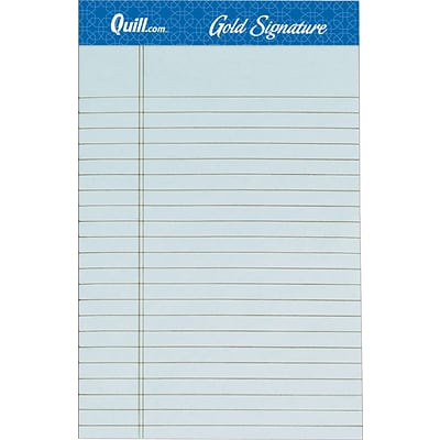 Quill Brand® Gold Signature Premium Series Ruled Legal Pad Junior Size 5x8; Legal Ruled, Blue, 50 Sheets/Pad, 12 Pack