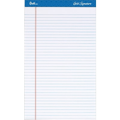 Quill Brand® Gold Signature Premium Series Legal Pad, 8-1/2 x 14, Wide Ruled, White, 50 Sheets/Pad, 12 Pads/Pack (742314)