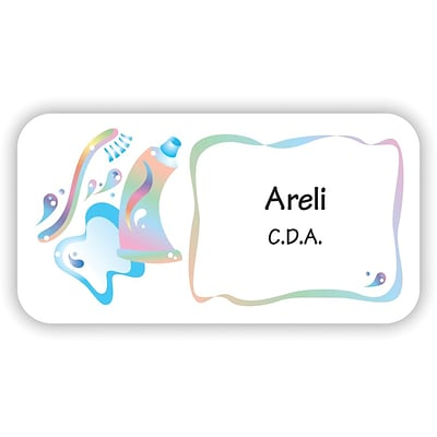 Custom Printed Medical Arts Press® Full-Color Dental Name Badges; Standard, Graphic Tooth/Toothpaste