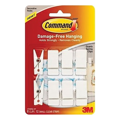 Command™ Decorative Spring Hooks, White, 8/Pack