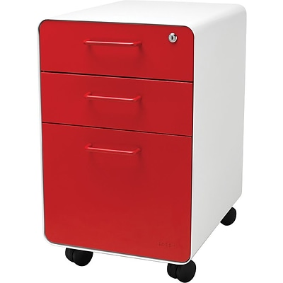 Stow 3-Drawer File Cabinet wCasters, White + Red