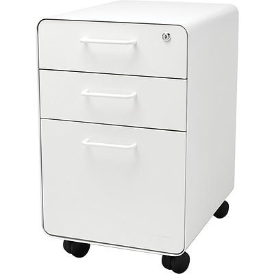 Stow 3-Drawer File Cabinet wCasters, White