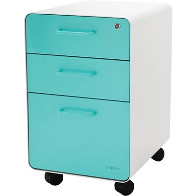 Stow 3-Drawer File Cabinet wCasters, White + Aqua