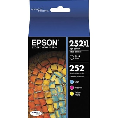 Epson 252XL/252 Black High Yield, Cyan, Magenta, Yellow, Standard Yield Cartridges, 4/Pack (T252XL-BCS)