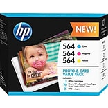 HP 564 (J2X80AN) Cyan/Magenta/Yellow Ink Cartridges with Photo Paper, Multi-pack (3 cart per pack)