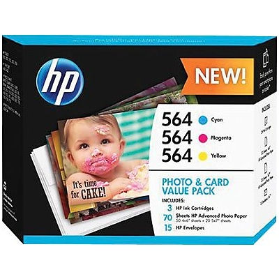 HP 564 Cyan, Magenta & Yellow Ink Cartridges with Photo Paper & Envelopes, 3 Pack (J2X80AN)