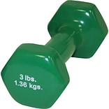 3lb Green Vinyl Coated Cast Iron Dumbbell