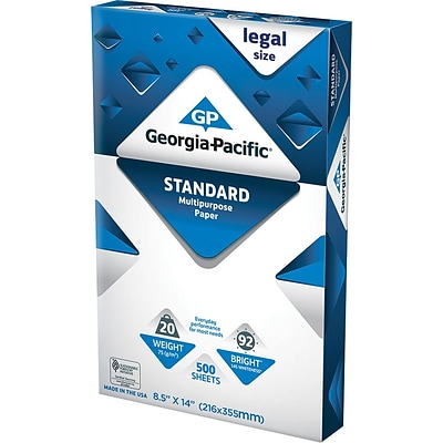 "Georgia-Pacific Standard Multipurpose Paper, 8-1/2 x 14"", Legal Size"