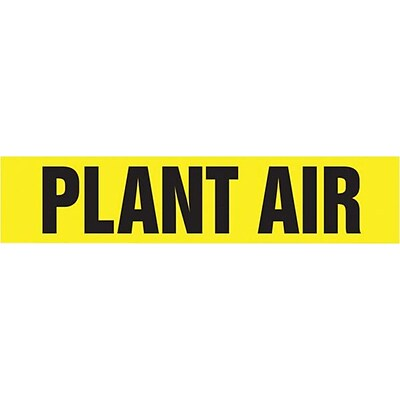 Accuform Signs® PLANT AIR Self Stick Stock Pipe Marker For 2 1/2 - 6Dia. Pipe, Black/Yellow, 1/Pk