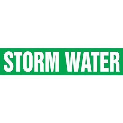 Accuform Signs® STORM WATER Self Stick Stock Pipe Marker For 1 1/2 - 2Dia. Pipe, White/Green, 1/Pk