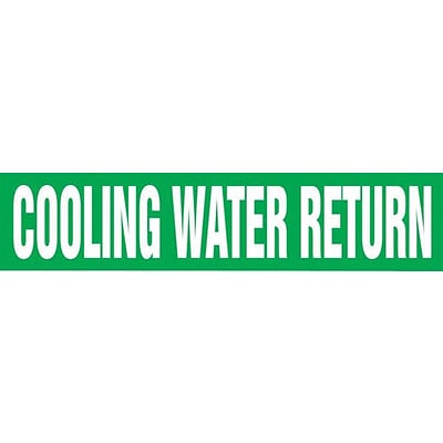 Accuform Signs® COOLING WATER RETURN Snap Tite Stock Pipe Marker For 2¼ - 3Dia. Pipe, White/Green