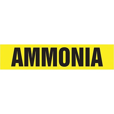 Accuform Signs® AMMONIA Self Stick Stock Pipe Marker For 3/4 - 1 1/4Dia. Pipe, Black/Yellow, 1/Pk